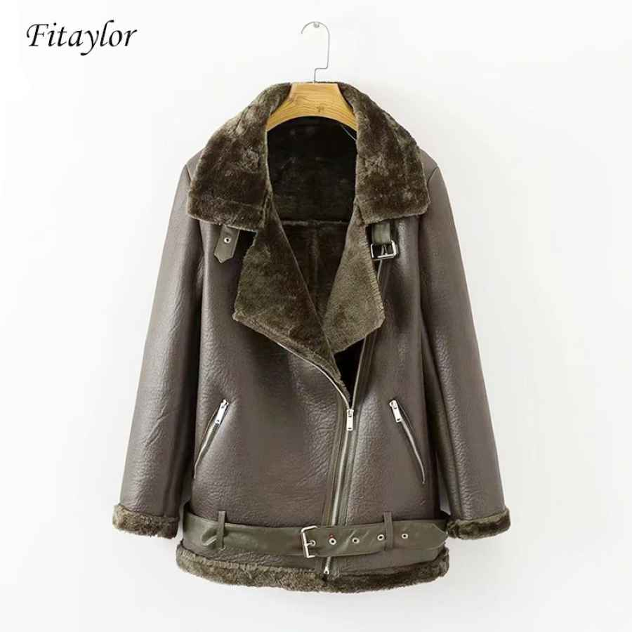 Fitaylor Winter Faux Lamb Leather Jacket Women Faux Leather Lambs