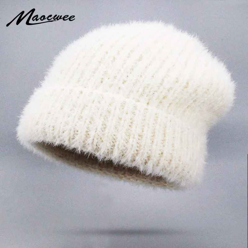 New Simple Rabbit Fur Beanie Hat For Women Winter Hat