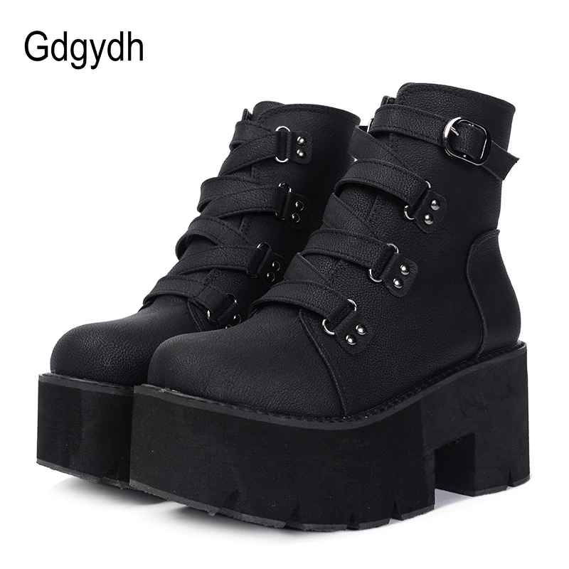 Gdgydh Spring Autumn Ankle Boots Women Platform Boots Rubber Sole