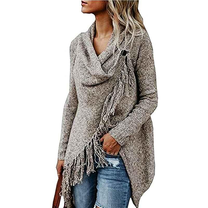 Sweaters women long fringed knitted jacket sweater loose coat tassels