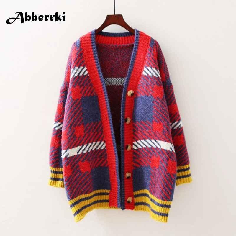 Sweaters autumn sweater loose korean medium length long sleeve v