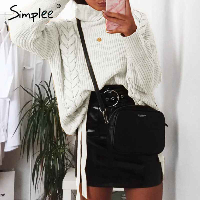 Pullover Jumpers Simplee Side Lace Up Sweaters Woman Winter 2018