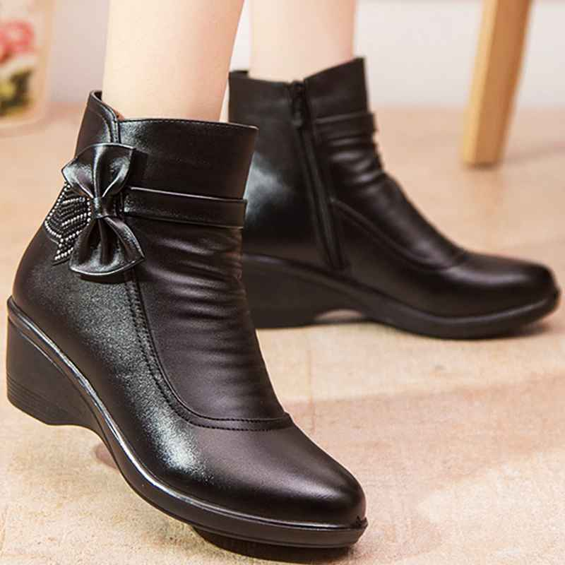 Female Boot Butterfly Knot Split Leather Boots Women Winter Shoes