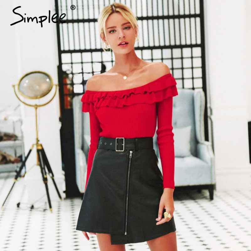 Pullover Jumpers Simplee Off Shoulder Women Sweater Elegant Ruffles Long