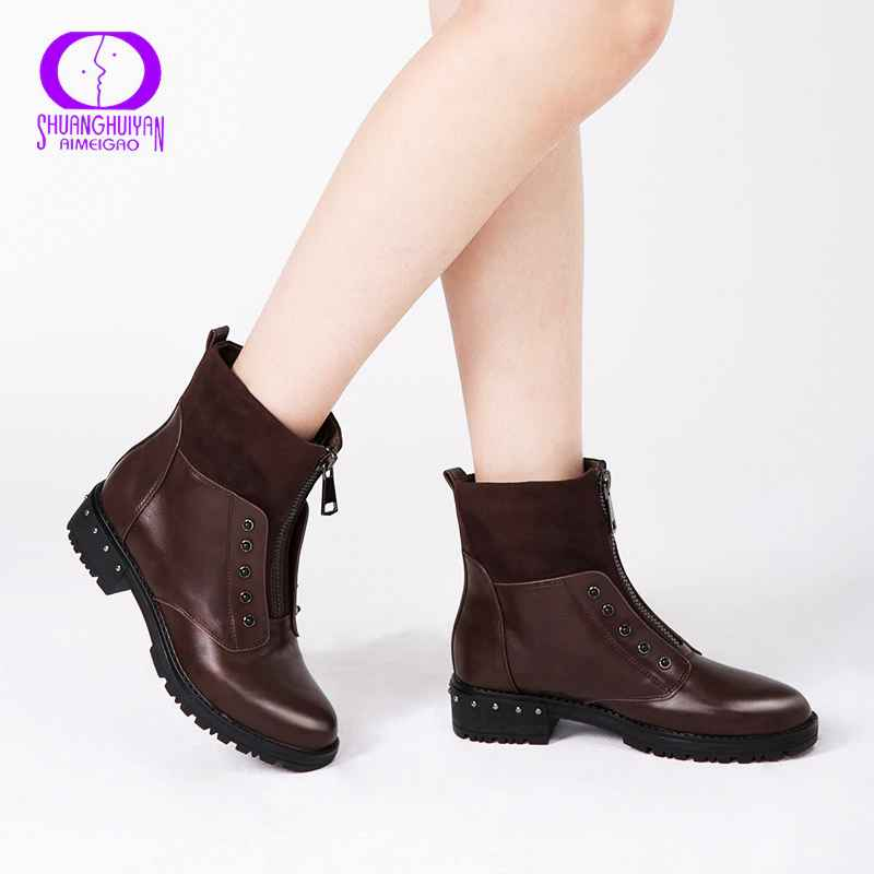 Aimeigao Front Zipper Black Ankle Boots For Women Warm Fur