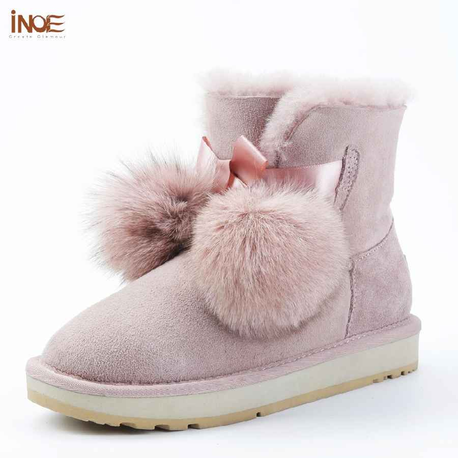 Inoe Sheepskin Suede Leather Shearling Wool Fur Lined Women Short