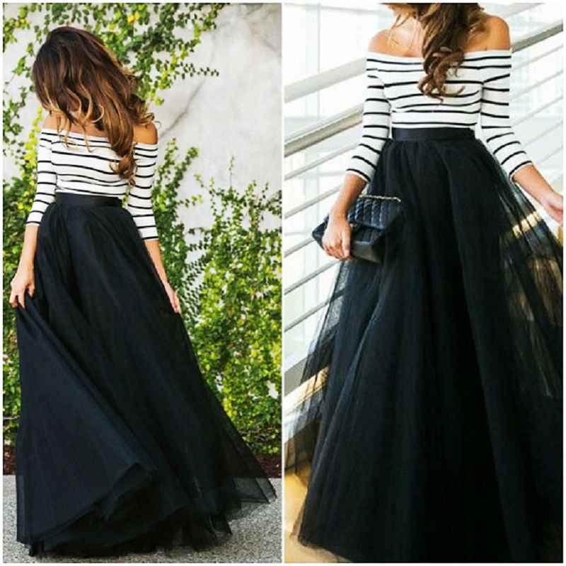 Skirts 4 layers 100cm floor length skirts for women elegant