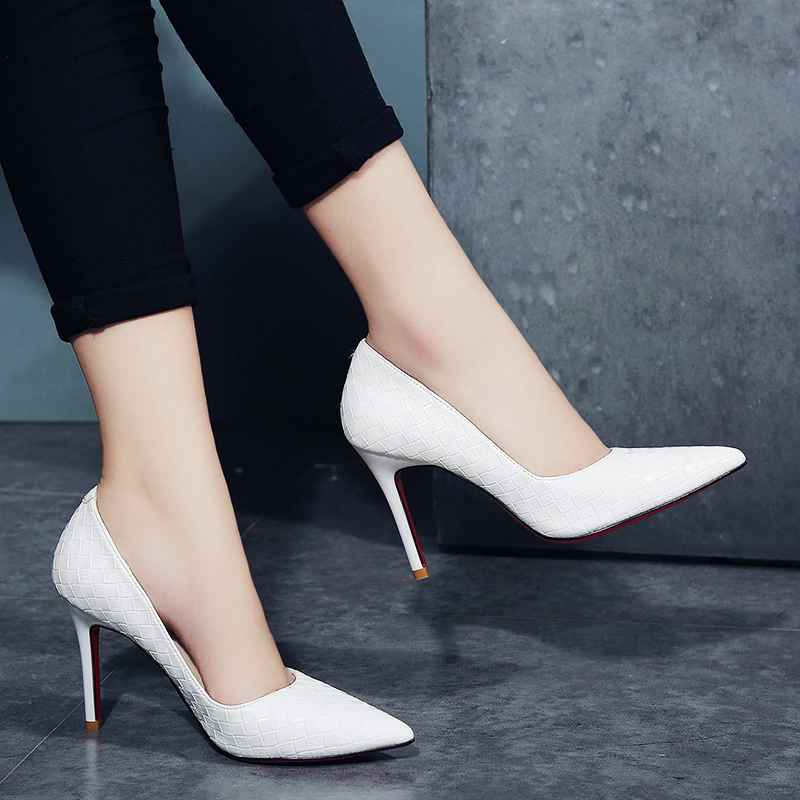 Qsr 10cm Pumps Women White Girl High Heel Womens Fine