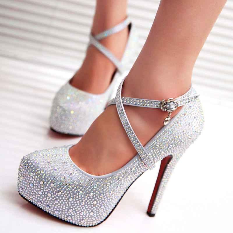 2019 Crystal Pumps Women Shoes Platform High Heels Wedding Shoes