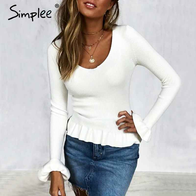 Pullover Jumpers Simplee Ruffle Knitted Women Sweater Flare Sleeve V