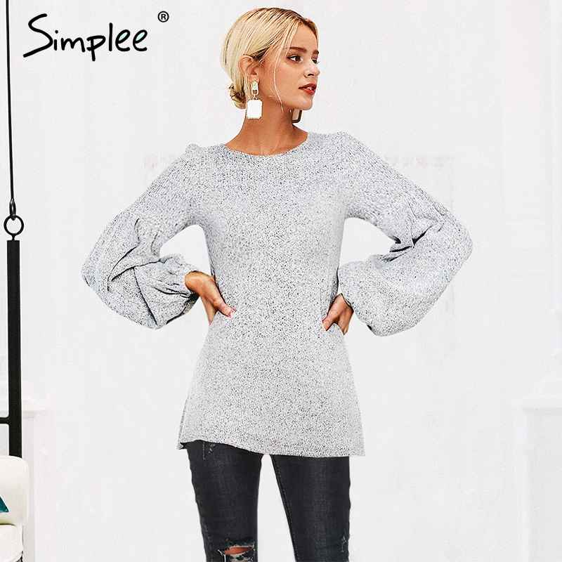 Pullover Jumpers Simplee Vintage Lantern Sleeve Knitted Sweater Women Plus