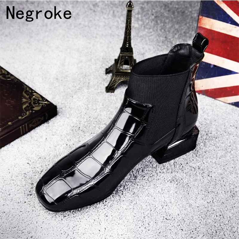 2019 Chic Women Boots Shiny Pu Leather Autumn Winter Shoes