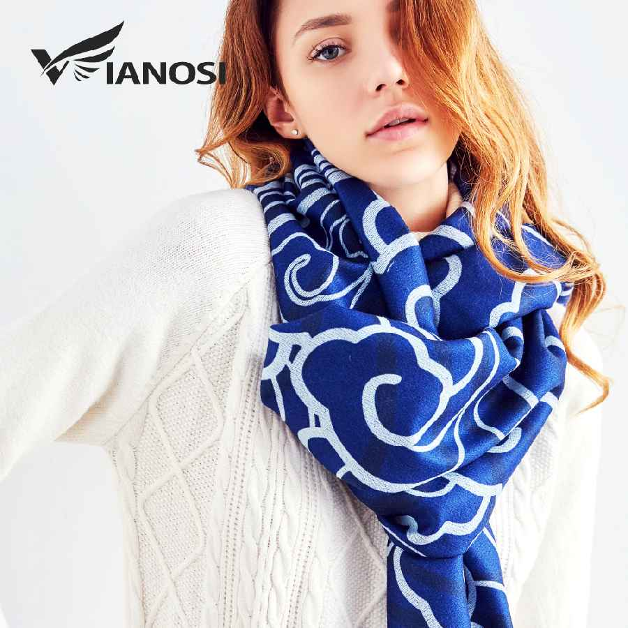 Blue Winter Wool Scarf Women Print Shawl And Scarves Warm