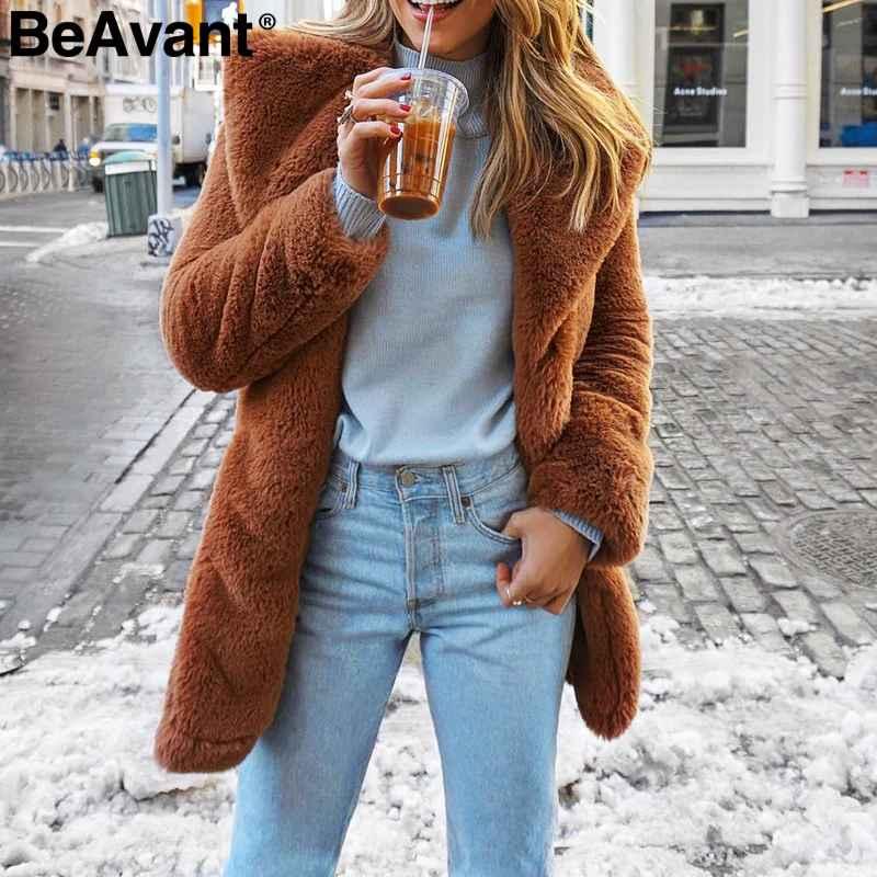 Elegant Long Faux Fur Coat Women 2019 Autumn Winter Warm