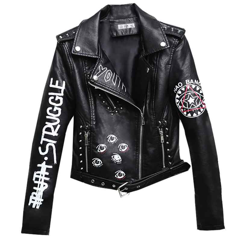 Rivet Faux Leather Jacket Rock Punk Women Moto Coat Black