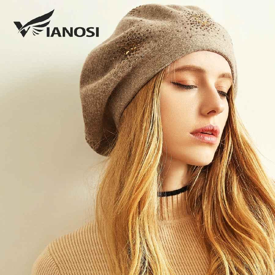 Wool Beret Female Winter Hats For Women Flat Cap Knit