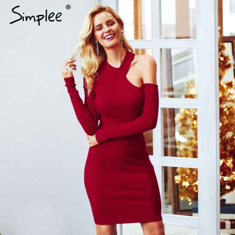 Autumn Winter Dresses Simplee Bodycon Cold Shoulder Sweater Women Dress