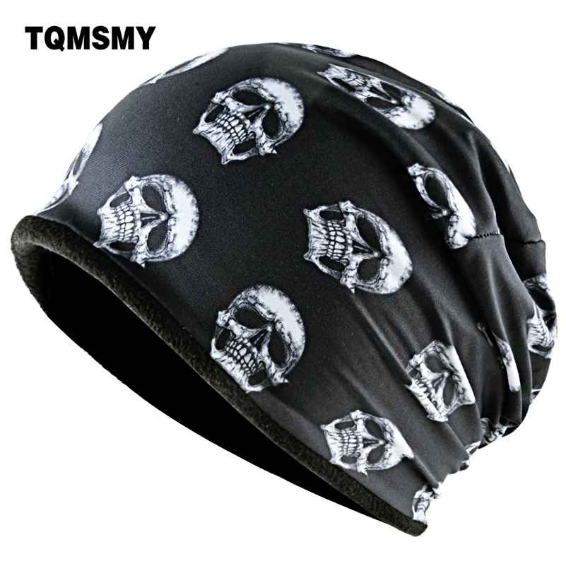 Tqmsmy Fashion Skull Pattern Hats For Men Winter Warm Skullies