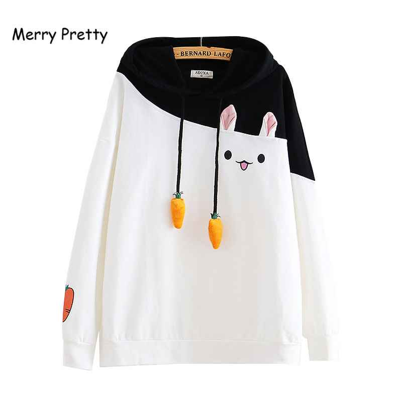 Merry Pretty Women Hoodies Animal Lovely Pullover Kawaii Rabbit Sweatshirt