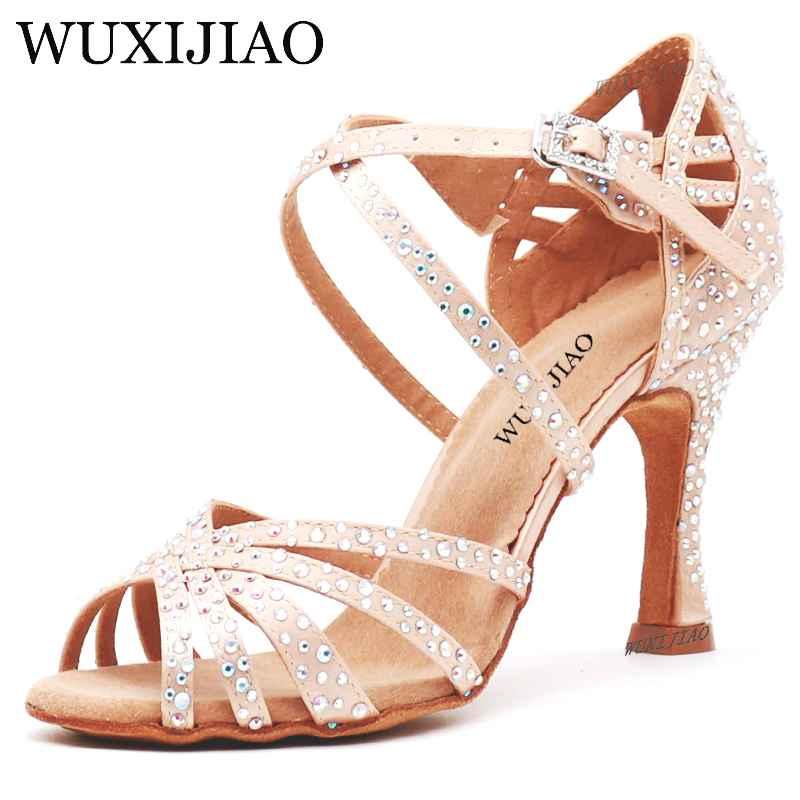 Wuxijiao Women Party Dance Shoes Satin Shining Rhinestones Soft Bottom