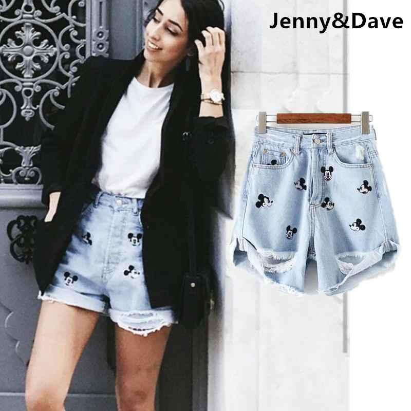 Shorts withered cartoon denim shorts women high street fashion blogger