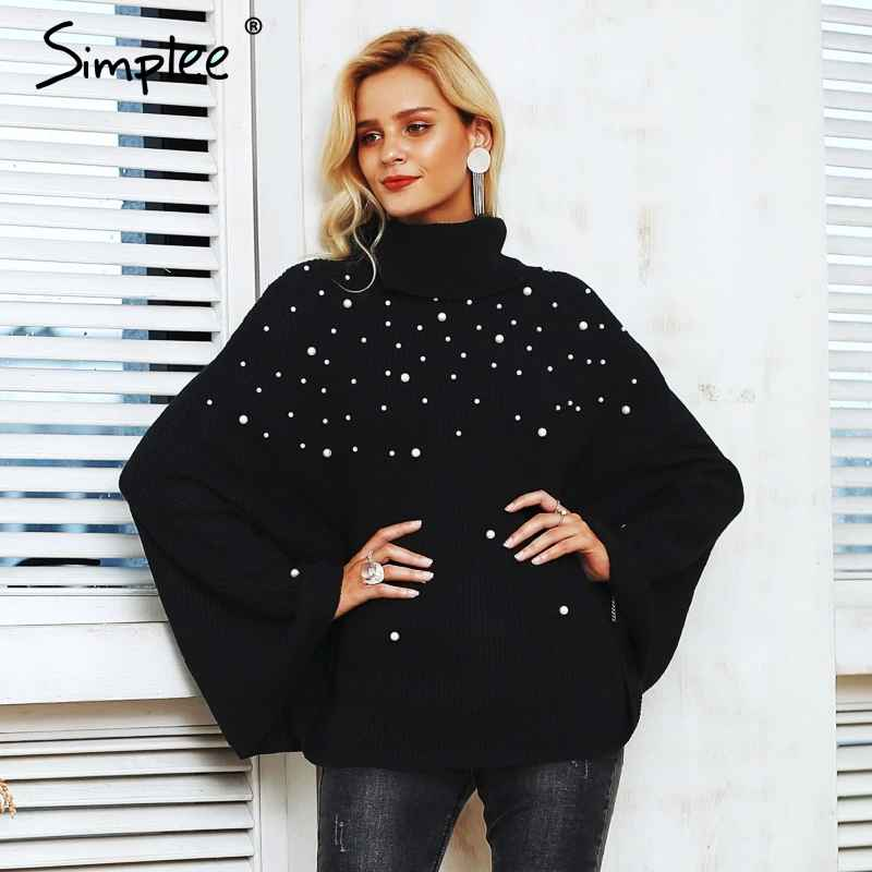 Pullover Jumpers Simplee Plus Size Turtleneck Beading Knitted Cloak Sweater