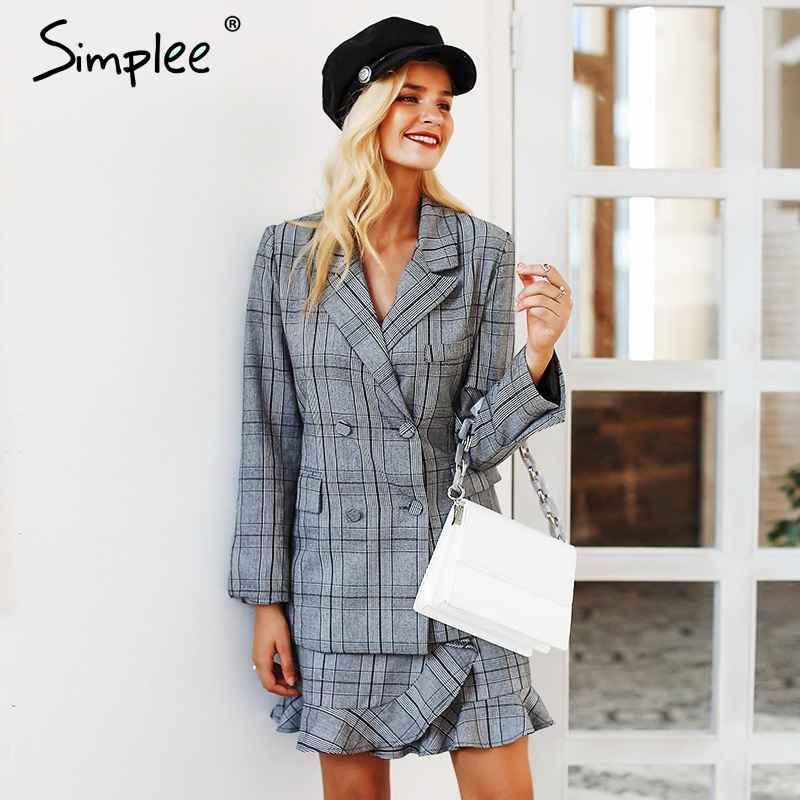 Blazers Simplee Elegant Plaid Turndown Collar Women Blazer Suit Ruffles