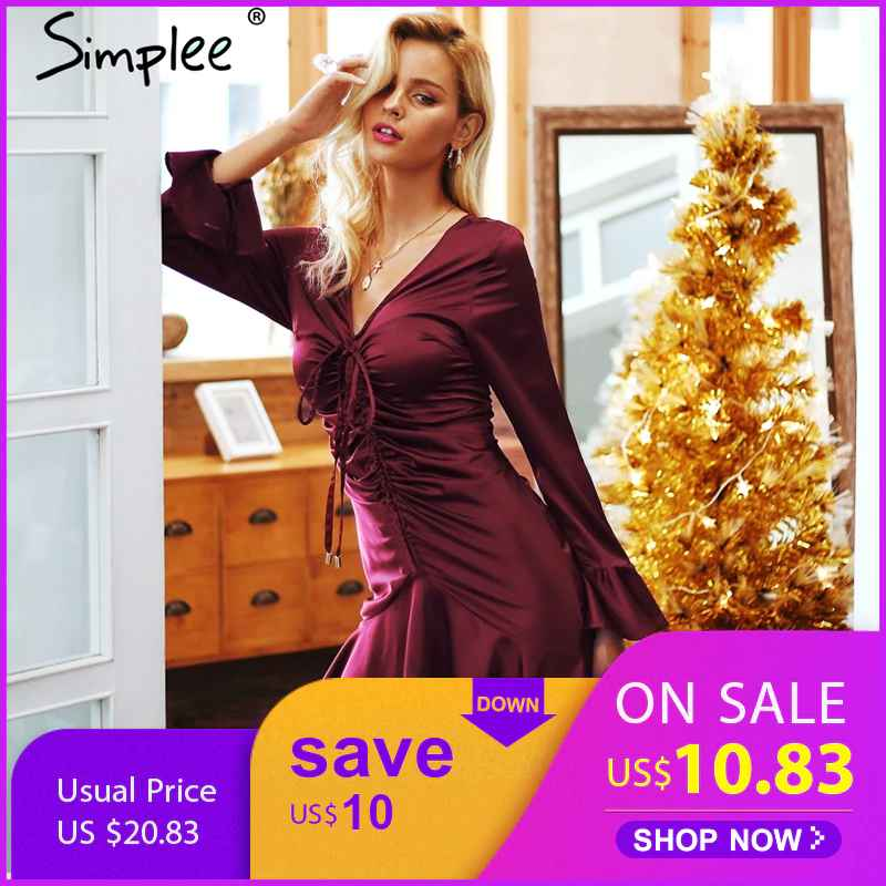 Autumn Winter Dresses Simplee Elegant Satin Women Dress Butterfly Sleeve
