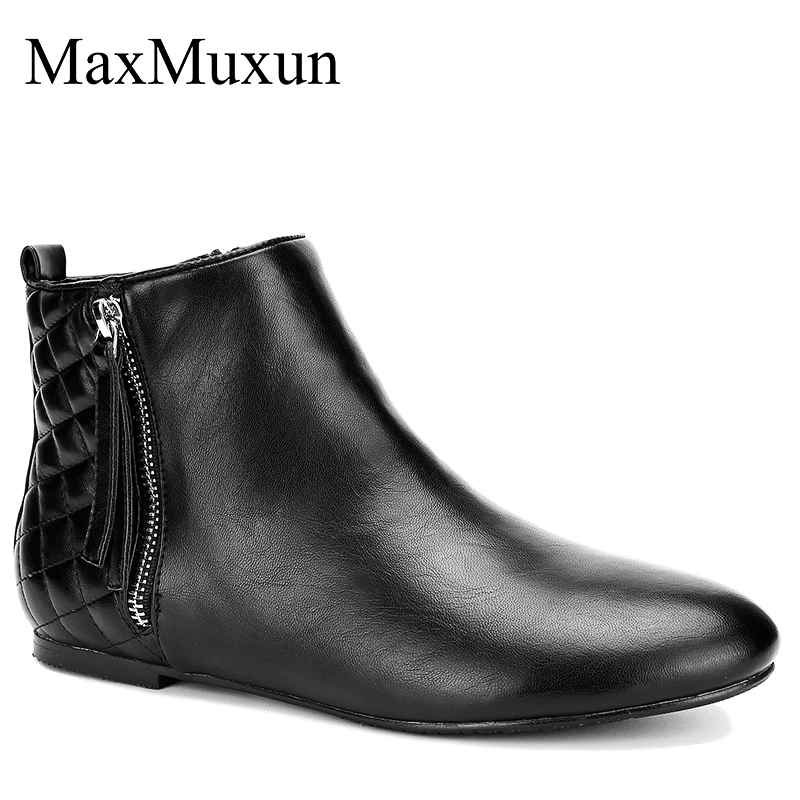 Maxmuxun Womens Booties Classic Flat Heel Ankle Pointed Toe Boots