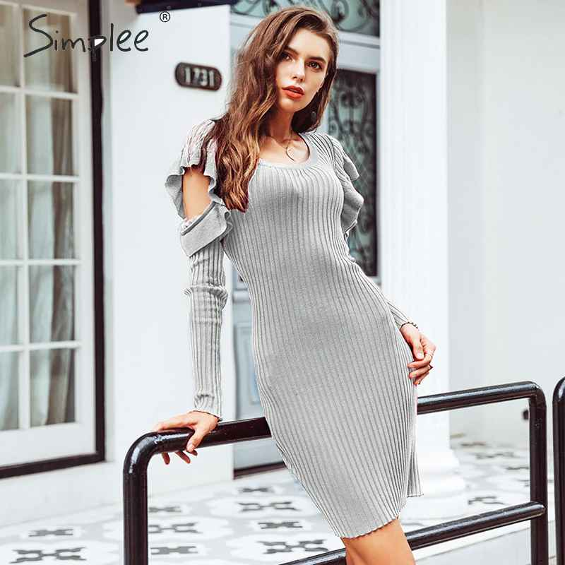 Autumn Winter Dresses Simplee Bodycon Cold Shoulder Knitted Sweater Dress