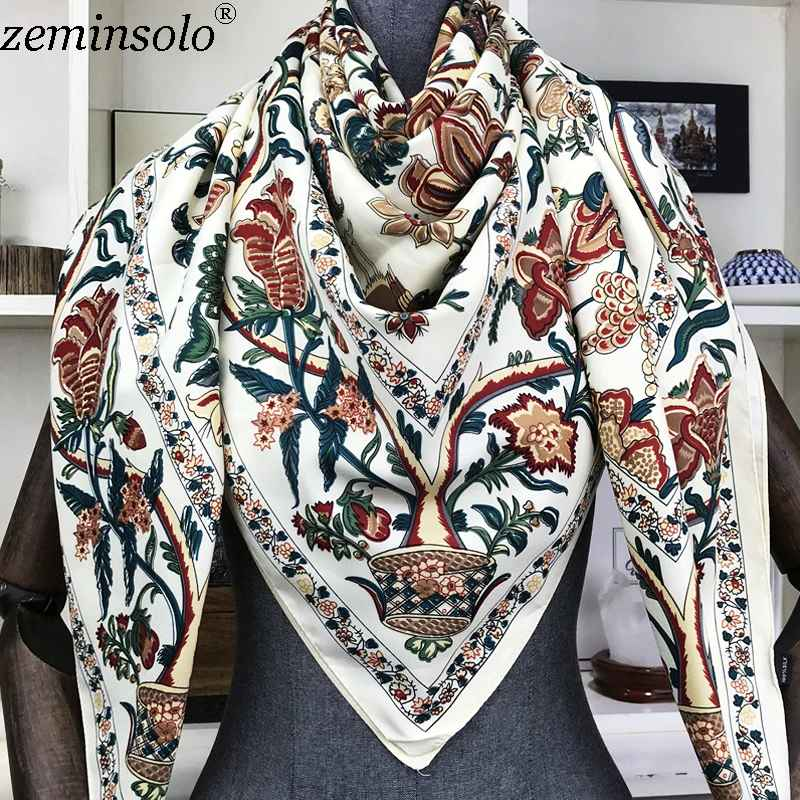 100% Silk Scarf Women Large Shawls Floral Print Stoles Square