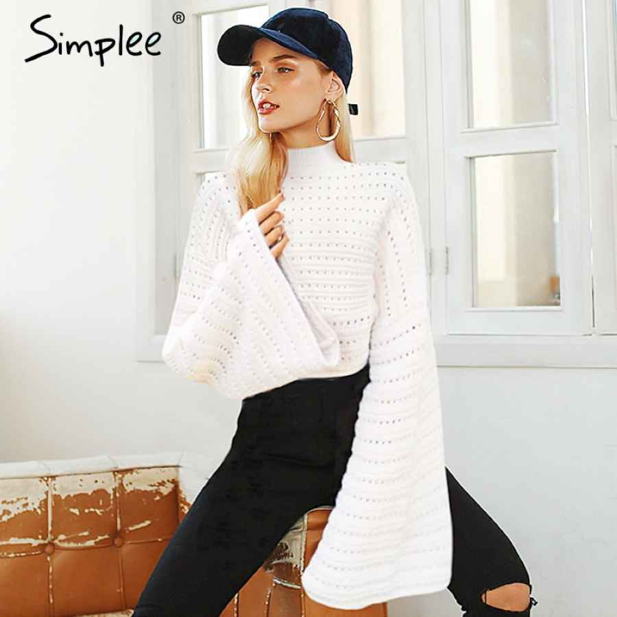 Elegant White Hollow Out Knitted Women Sweater Batwing Sleeve Pullovers