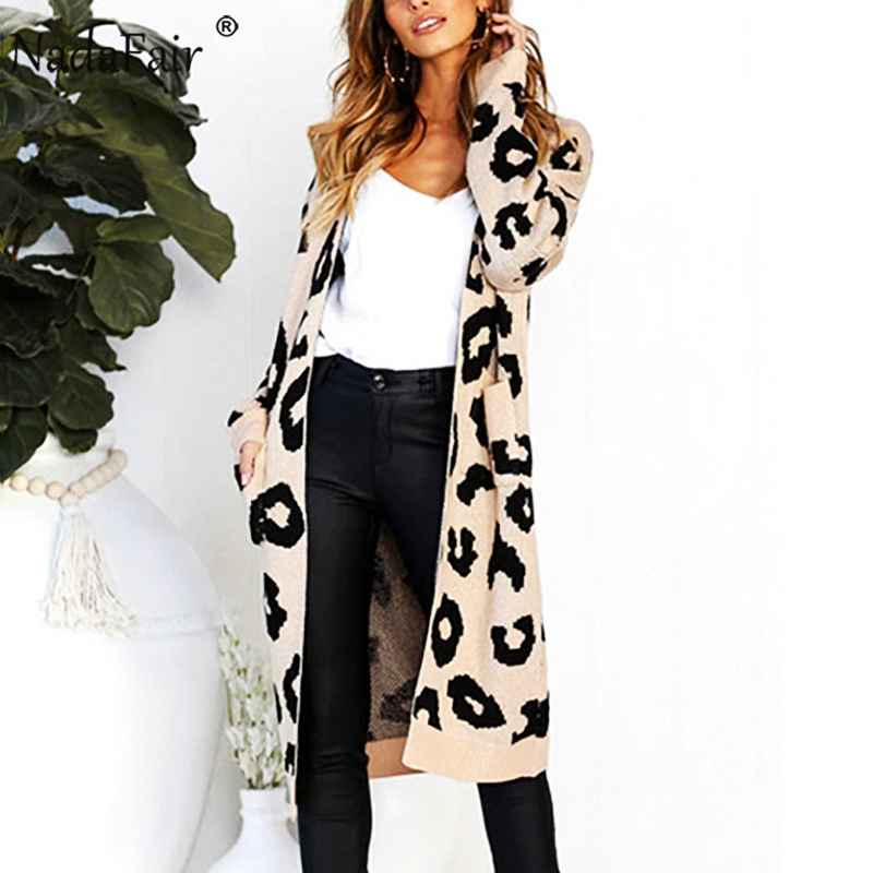 Sweaters nadafair long knitted leopard cardigan women plus size casual