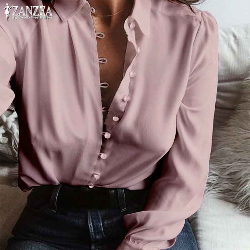 Blouses 2019 fashion zanzea autumn casual long sleeve loose party