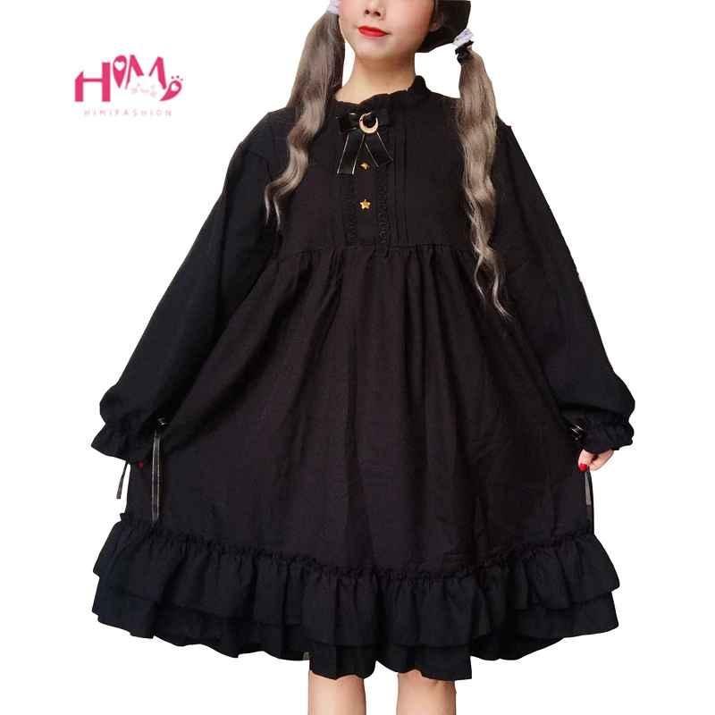 Harajuku Gothic Lolita Black Womens Dress With Stars Buttons 2018