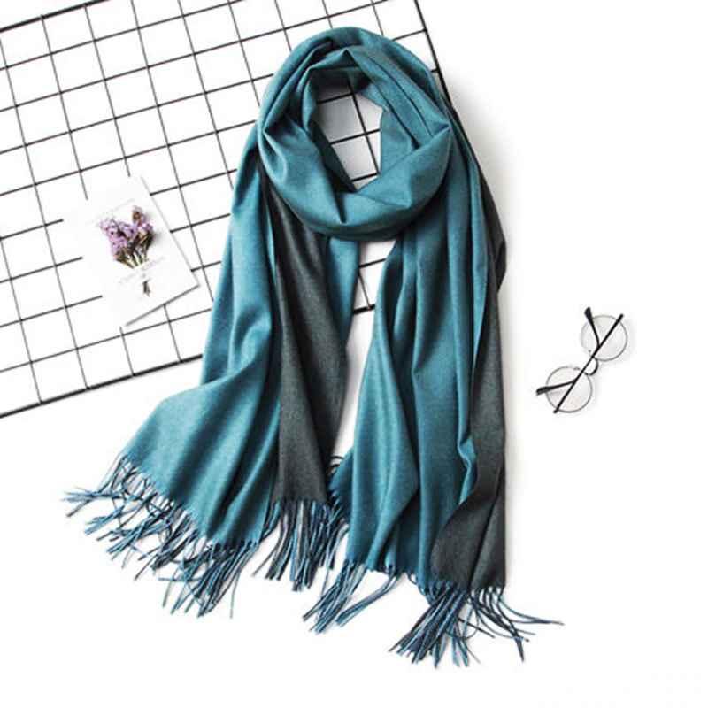 Lamaxpa Dropshipping Fashion Winter Cashmere Scarf Women Double Side Pashmina