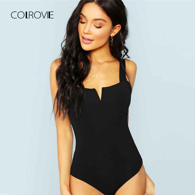 Colrovie Black Casual Solid V-Cut Front Skinny Tee Sexy Bodysuit