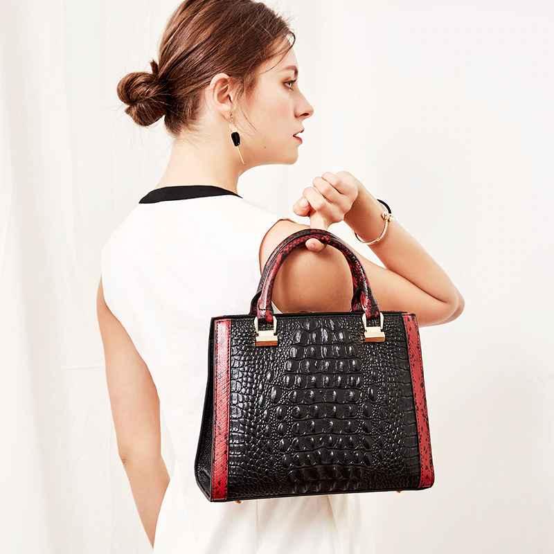 Qiwang Black Leather Handbag 2019 Crocodile Pattern Leather Handbag Luxury