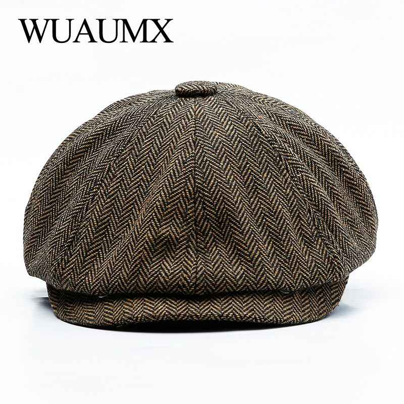 Wuaumx Unisex Autumn Winter Newsboy Caps Men And Women Warm
