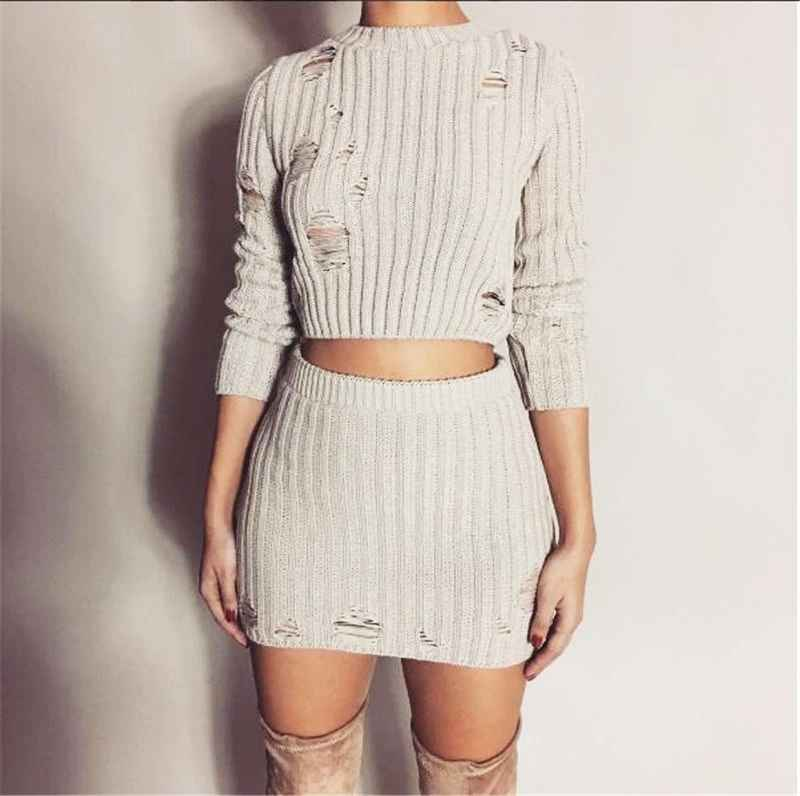 Autumn Winter Dresses Women Autumn Knitted Dress Sexy 2 Piece