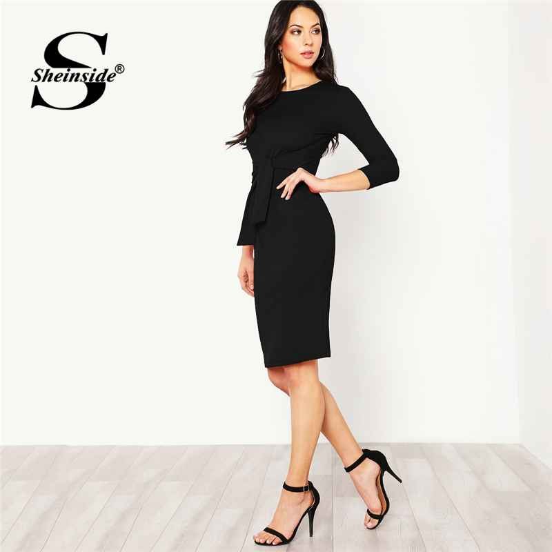 Black Elegant Bodycon Dress Women Pencil 34 Sleeve 2018 Autumn