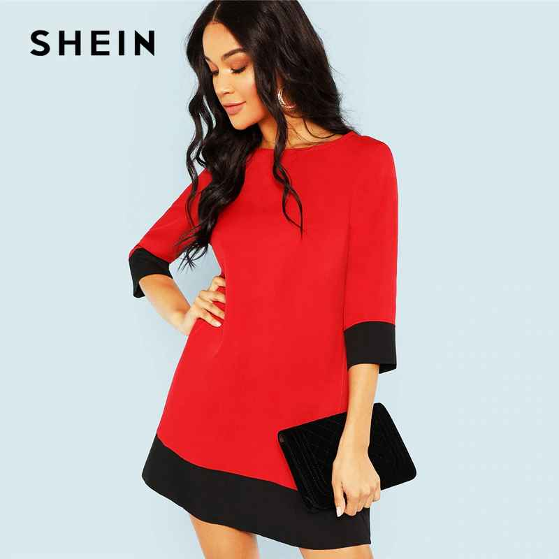 Red Contrast Trim Tunic Dress Workwear Colorblock 34 Sleeve Short