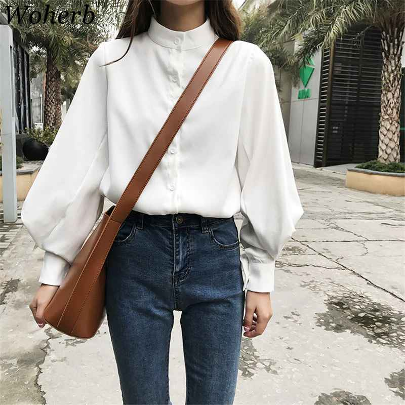 Blouses woherb womens tops blouses vintage long sleeve autumn winter