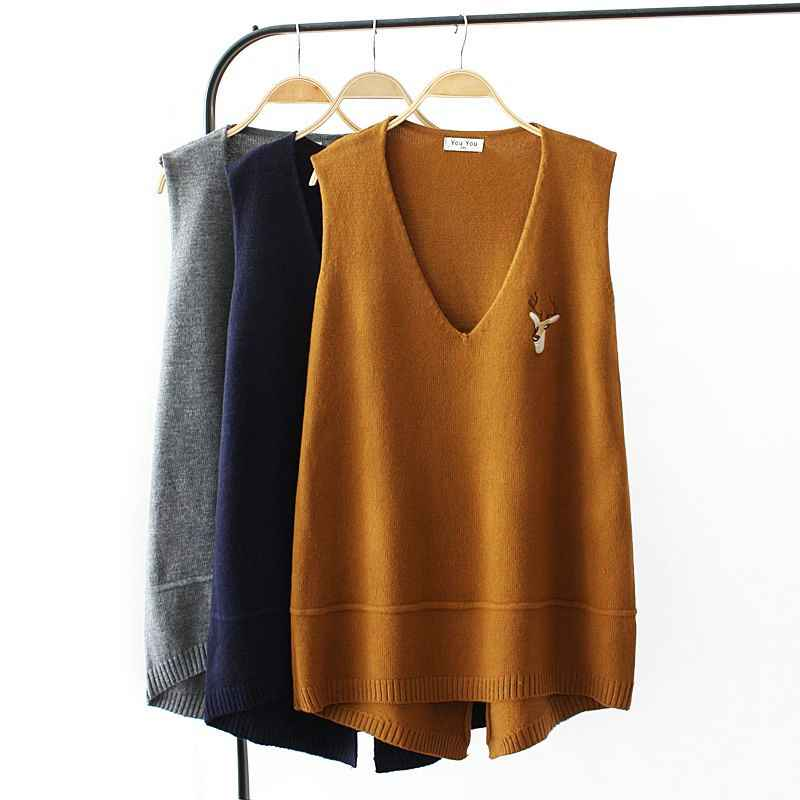 Casual Plus Size V-Neck Autumn Knitted Vest For Women Deer