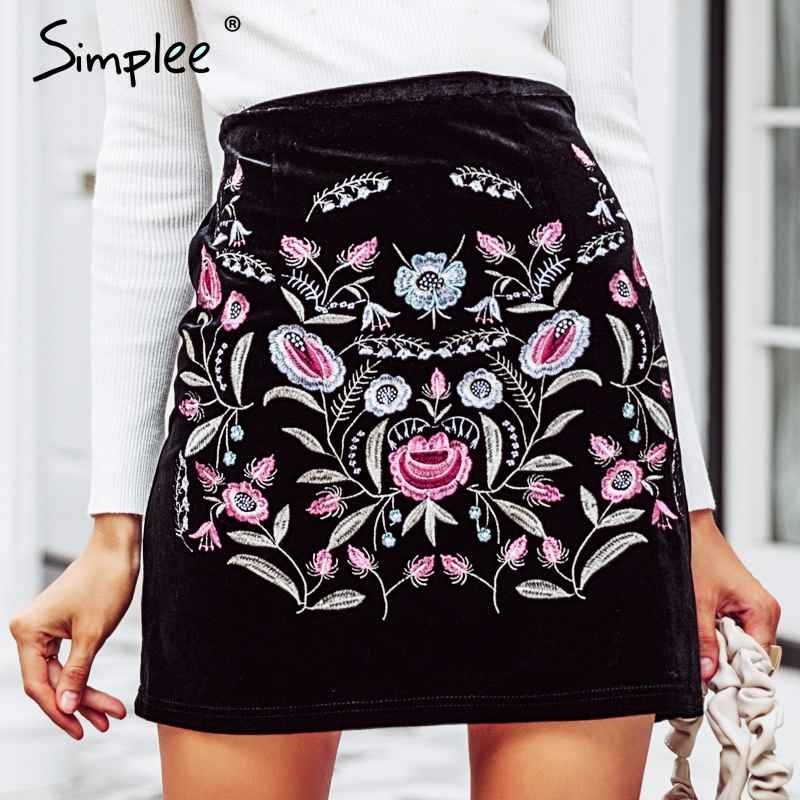 Skirts Simplee Embroidery High Waist Skirts Womens Bottom Vintage Short