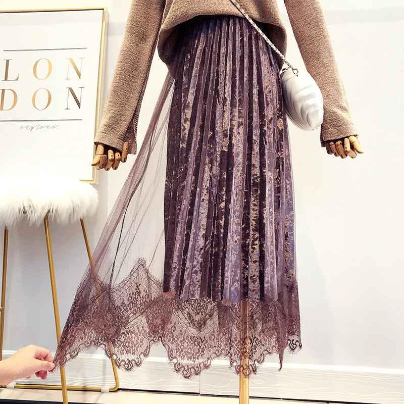 Skirts autumn new women super fairy lace spliced velvet skirt