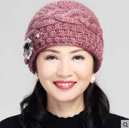 New Fashion Women Winter Knitted Hat Sets Floral Bonnet Wool