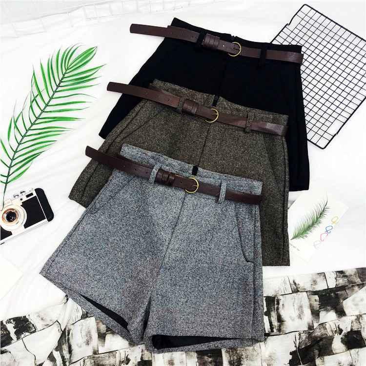 Shorts autumn winter formal shorts women korean high waist thick