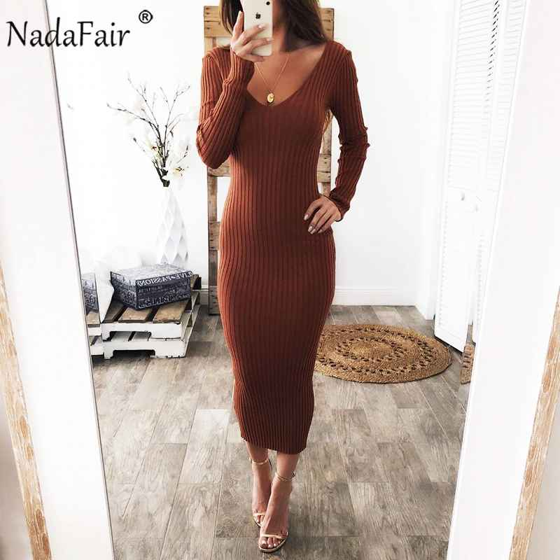 Womens Sets Nadafair Knitted Sweater Dress Women Stretchy Long Sleeve