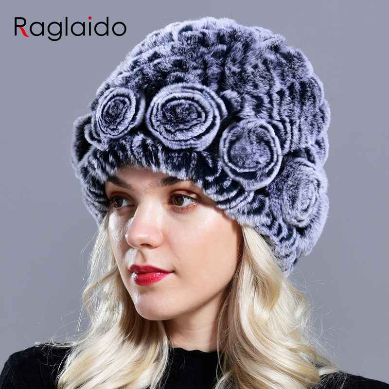 Raglaido Women s Hat Winter Real Rabbit Fur Hats Floral Solid
